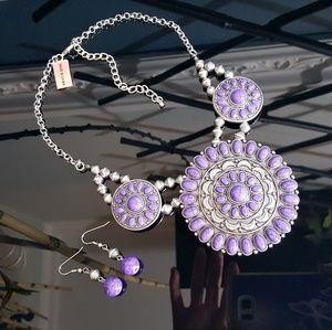 Jewelry - Purple Howlite Necklace n Earrings